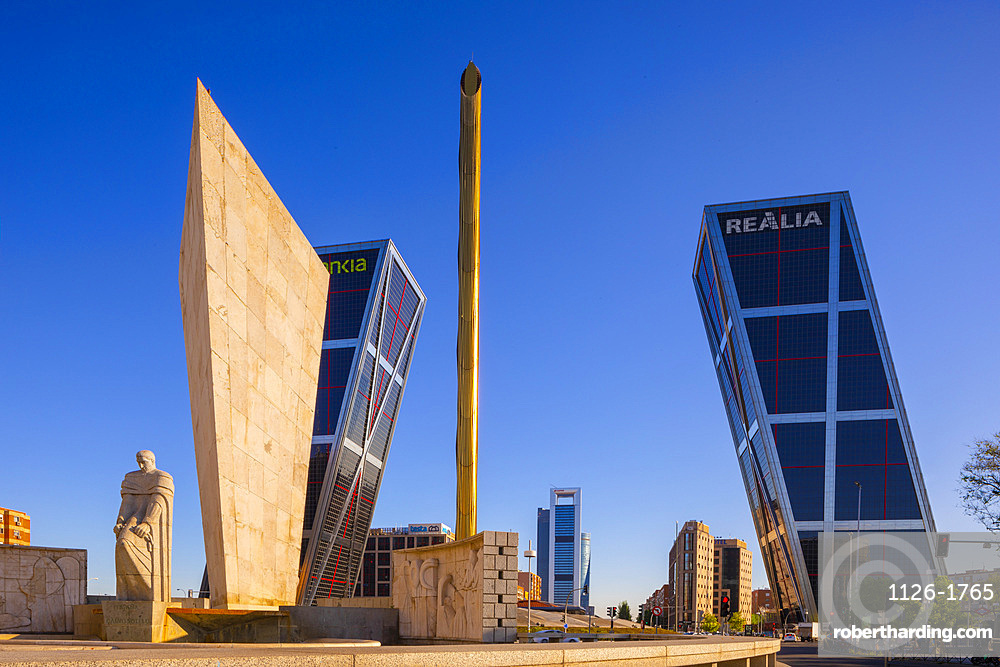 Kio Towers at the Plaza De Castilla, Madrid, Spain, South West Europe