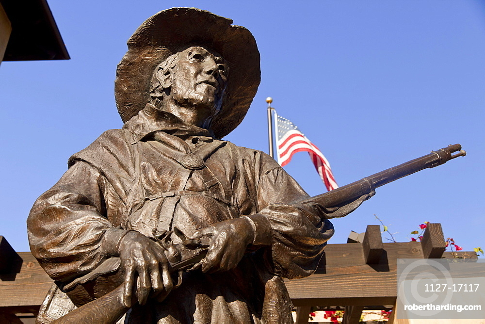 Statue, soldier with gun, Mormon Battalion historic site, Visitors Center, Old Town San Diego State Historic Park, San Diego, California, USA