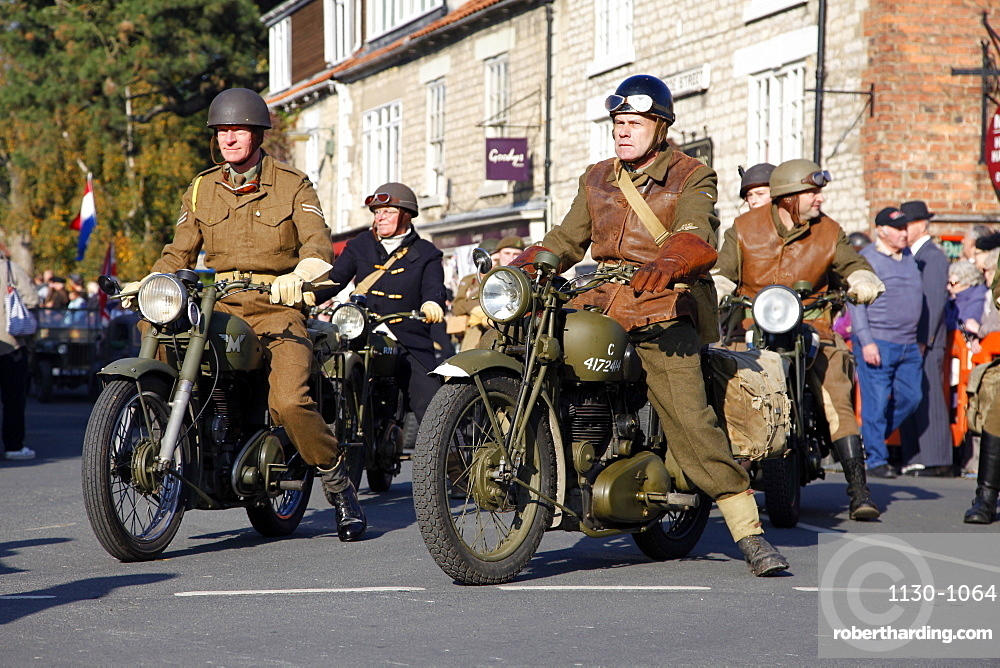 1940s motorcycle riders, Pickering, North Yorkshire, Yorkshire, England, United Kingdom, Europe