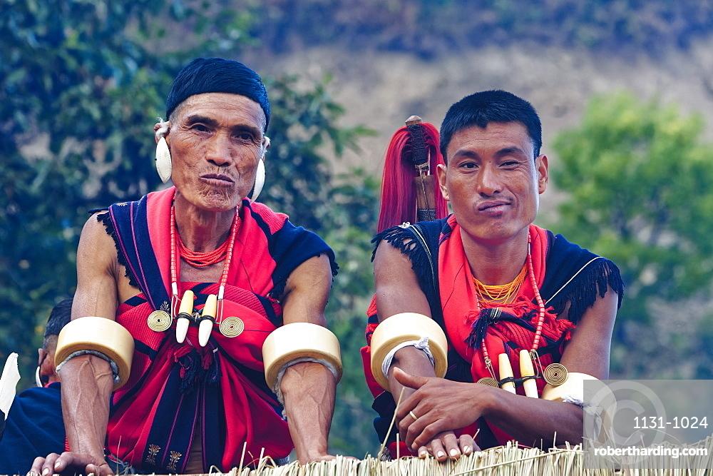Naga tribal men in traditional clothing, Kisima Nagaland Hornbill festival, Kohima, Nagaland, India, Asia
