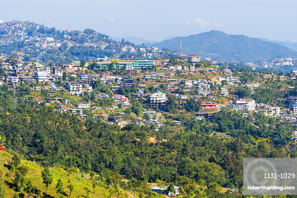 View over Kohima city, Nagaland, India, Asia