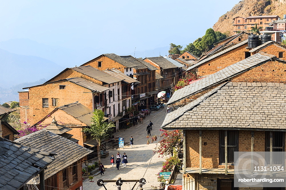 Shops and cafes in Bandipur main street, Tanahun district, Nepal, Asia