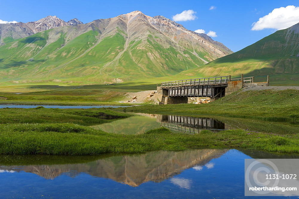 Mountains reflecting in water, Naryn Gorge, Naryn Region, Kyrgyzstan, Central Asia, Asia
