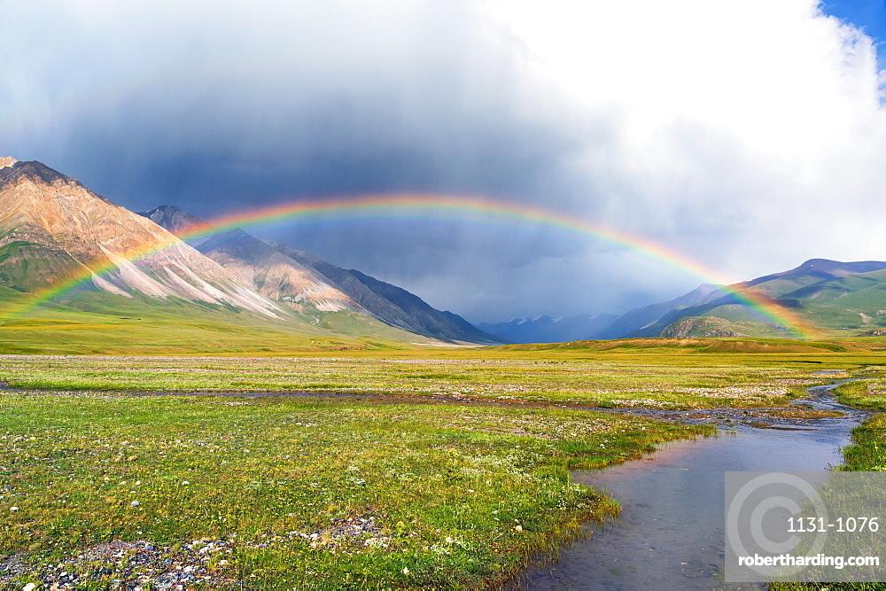 Rainbow over Naryn gorge, Naryn Region, Kyrgyzstan