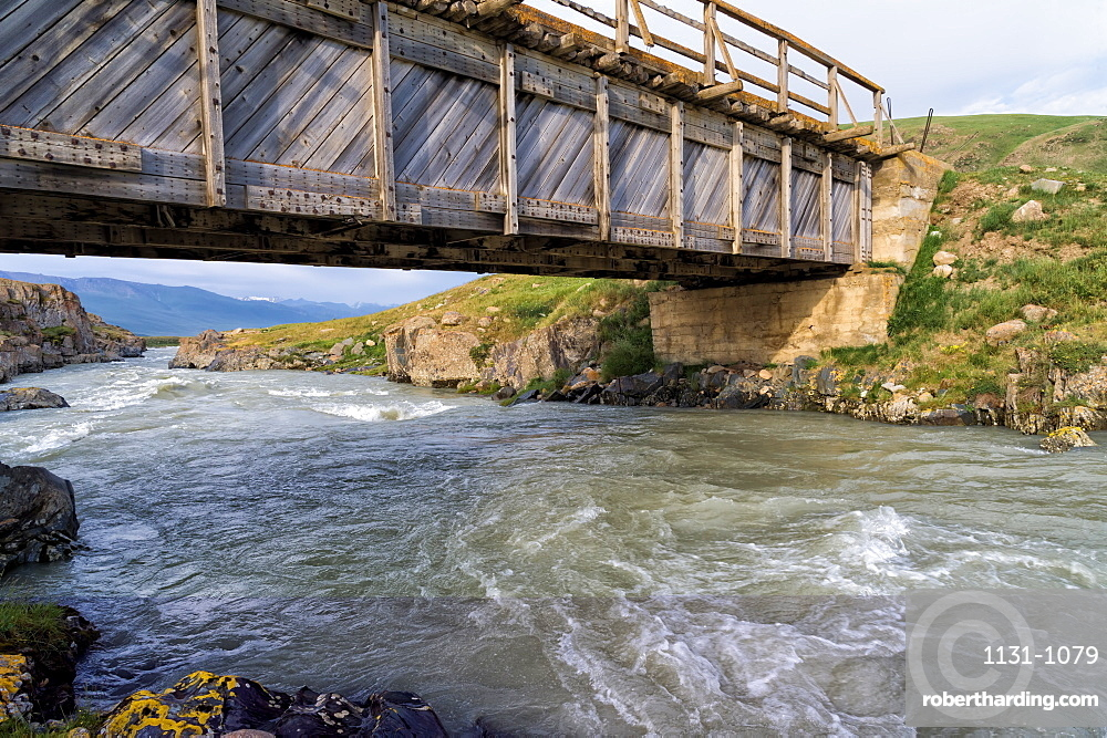 Wooden bridge over a Mountain river, Naryn Gorge, Naryn Region, Kyrgyzstan, Central Asia, Asia