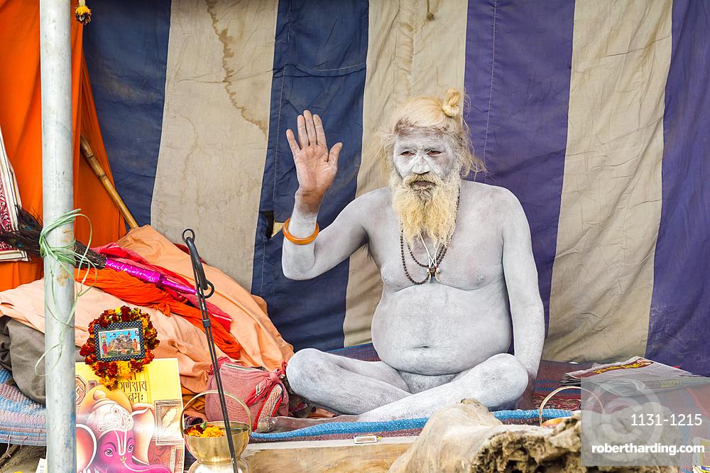 Sadhu covered with white ashes, For Editorial Use Only, Allahabad Kumbh Mela, Largest religious gathering, Uttar Pradesh, India