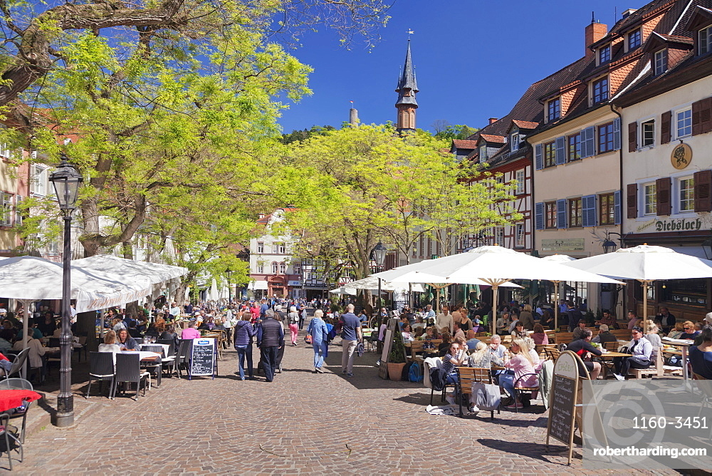 Street cafes at market place, Weinheim, Baden-Wurttemberg, Germany, Europe