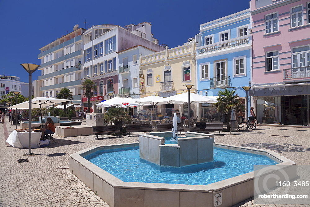 Street cafes in the old town, Lagos, Algarve, Portugal, Europe