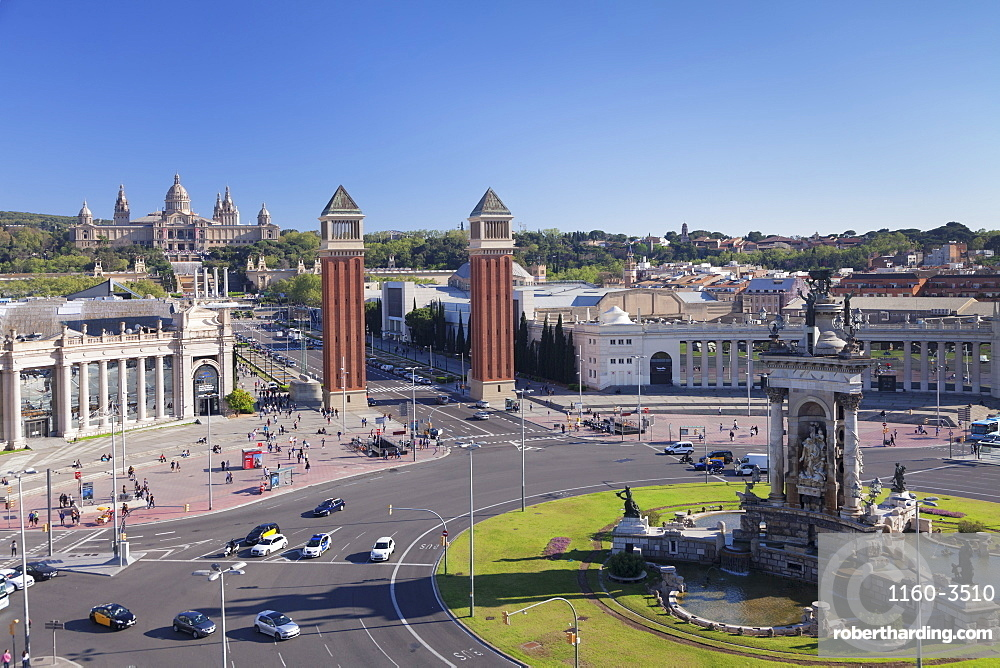 View over Placa d'Espanya (Placa de Espana) to Palau Nacional (Museu Nacional d'Art de Catalunya), Barcelona, Catalonia, Spain, Europe