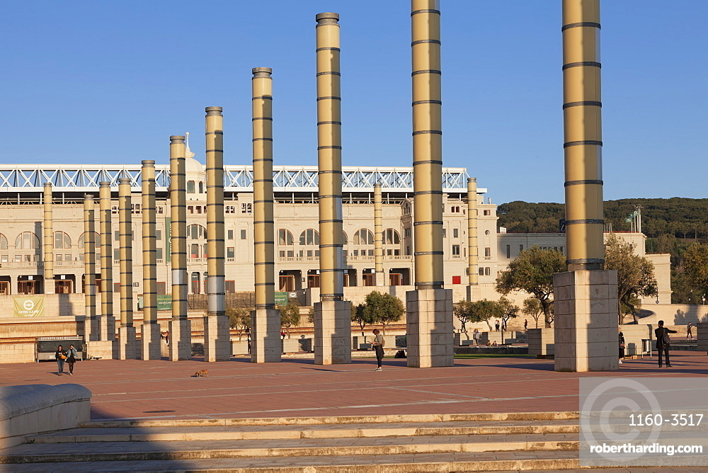 Olympic stadium Estadi Olimpic Lluis Companys, Montjuic, Barcelona, Catalonia, Spain, Europe