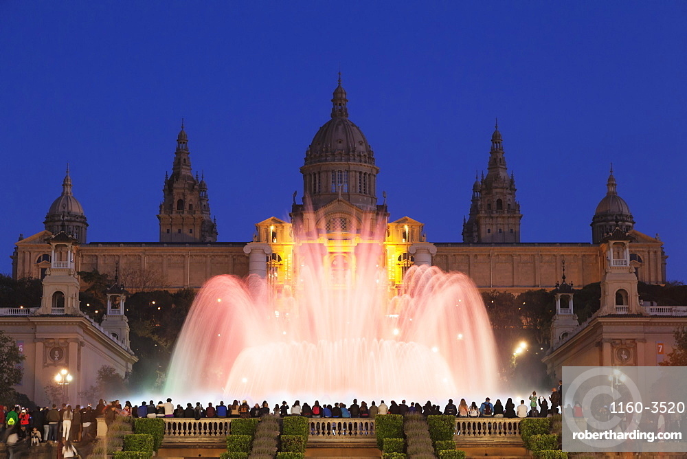 Font Magica, Magic Fountain at Palau Nacional /Museu Nacional d'Art de Catalunya, Montjuic, Barcelona, Catalonia, Spain