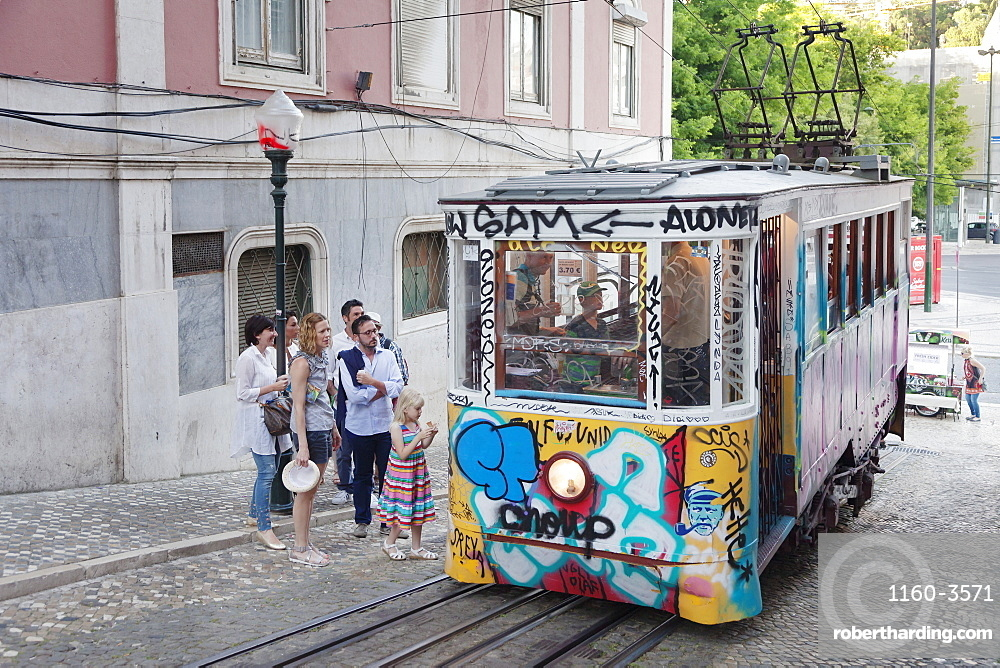 Elevador da Gloria, funicular connects downtown with Bairro Alto district, Lisbon, Portugal, Europe