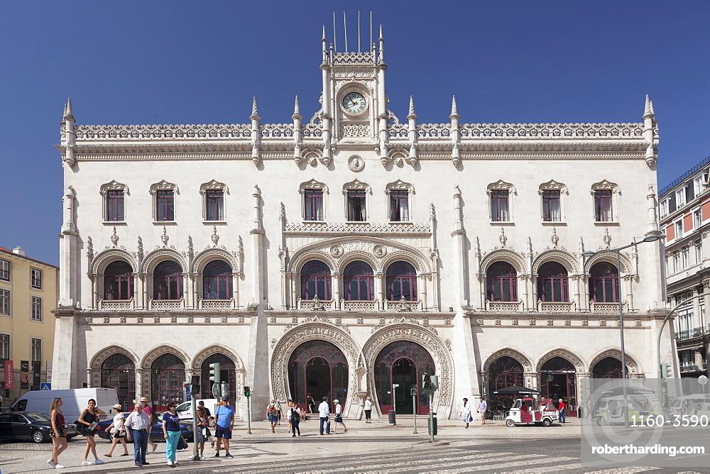 Estacio do Rossio, train station, Manueline Gothic style, Baixa, Lisbon, Portugal