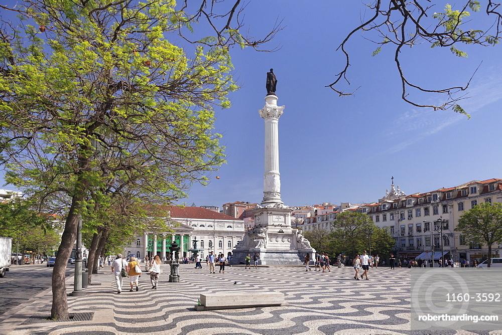 Rossio, Praca Dom Pedro IV, National Theatre Dona Maria II, Baixa, Lisbon, Portugal, Europe