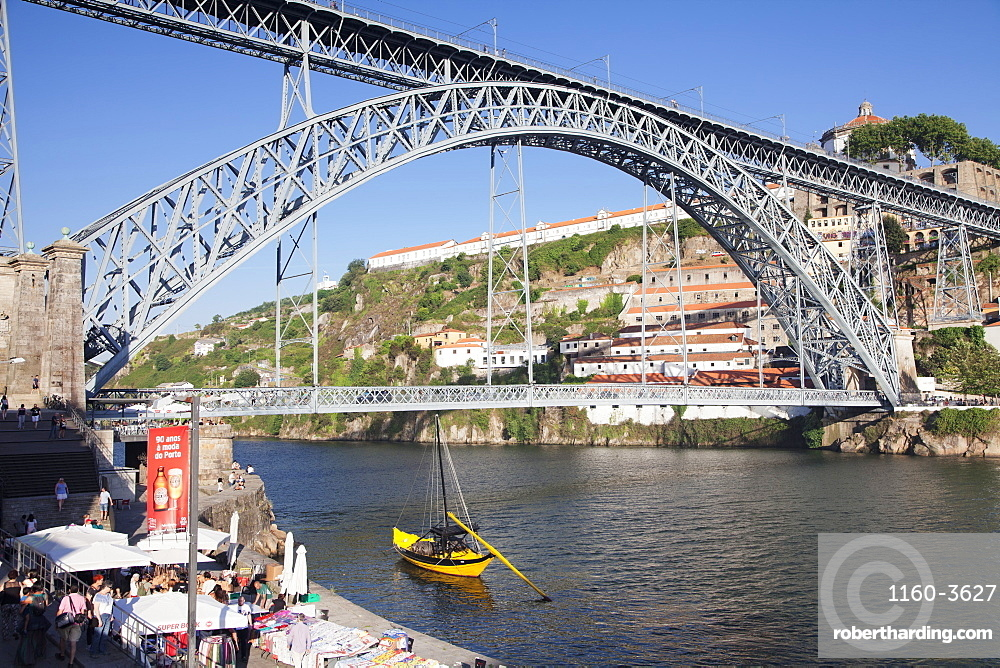 Rabelos boat on Douro River, Serra do Pilar Monastery, Ponte Dom Luis I Bridge, UNESCO World Heritage Site, Porto (Oporto), Portugal, Europe