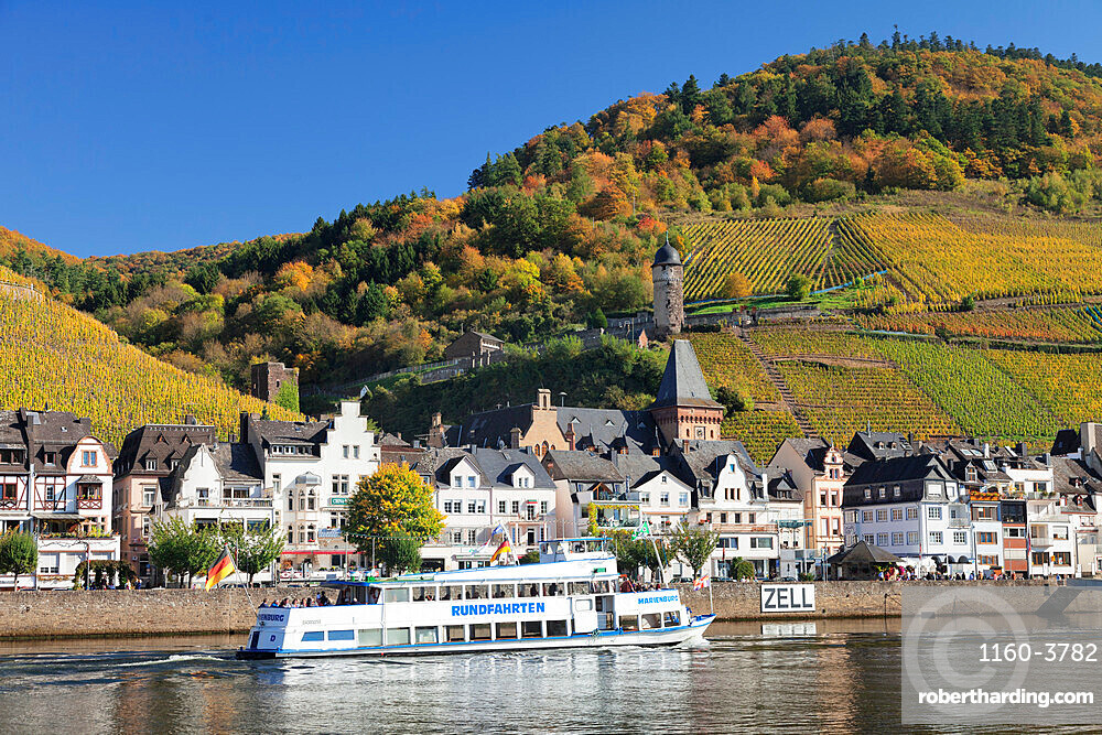 Excursion boat on Moselle River, Runder Turm Tower, Zell, Rhineland-Palatinate, Germany