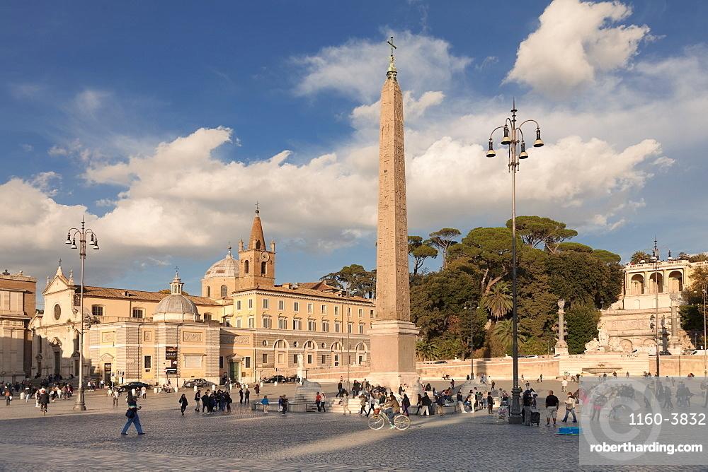 Piazza del Popolo Square, Obelisco Falminio obelsik, Rome, Latium, Italy