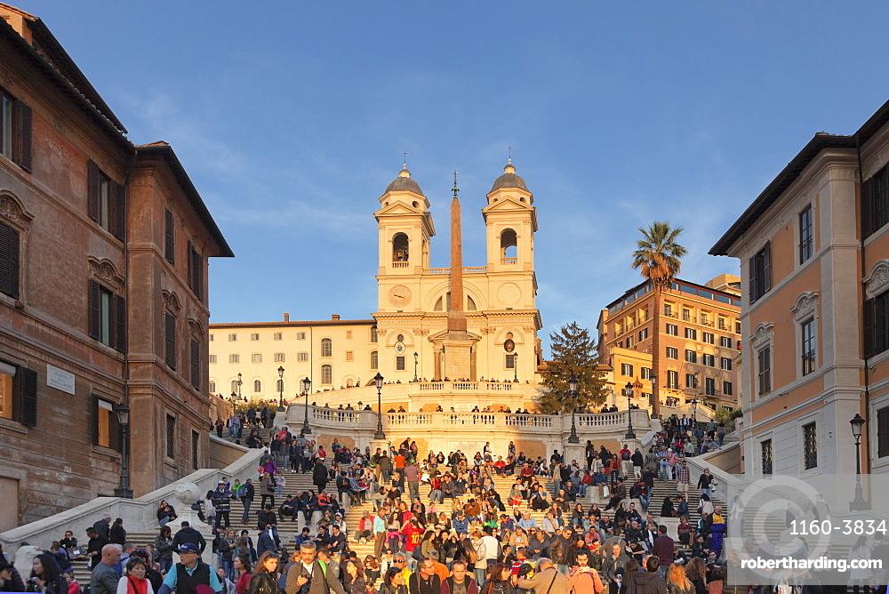 Spanish Steps, Santa Trinita dei Monti church, Piazza di Spagna, Rome, Lazio, Italy, Europe