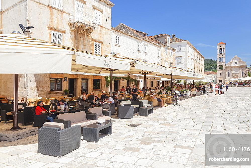 Restaurants at the Main Square with Sveti Stjepan Cathedral, Hvar, Hvar Island, Dalmatia, Croatia