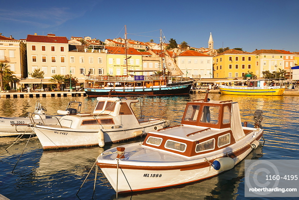 Harbour and old town at sunset, Mali Losinj, Cres Island, Kvarner Gulf, Croatia