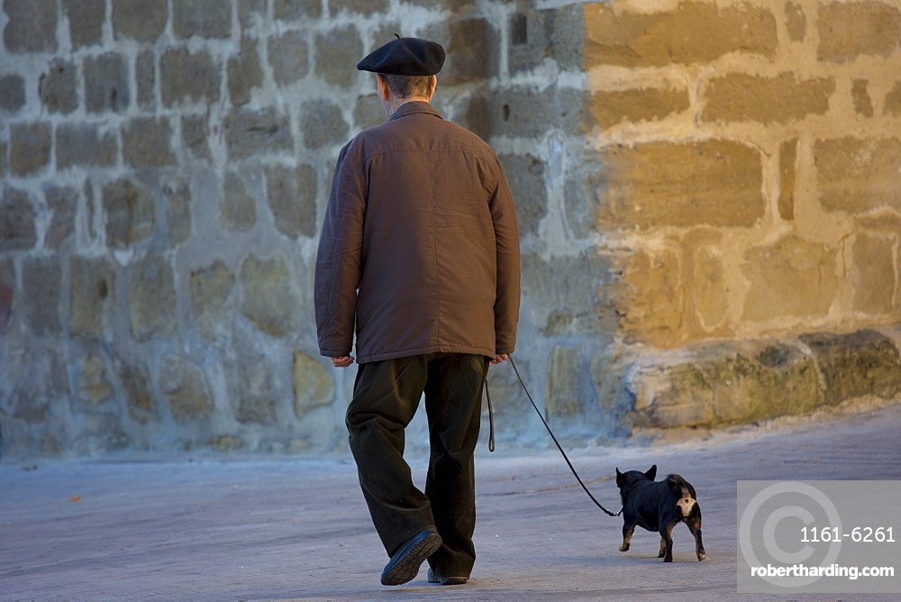 Old man walking his chihuahua dog in the streets of Laguardia, Northern Spain