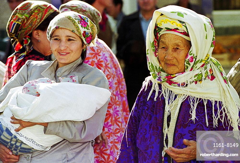 Locals wearing traditional clothing in Samarkand, Uzbekistan