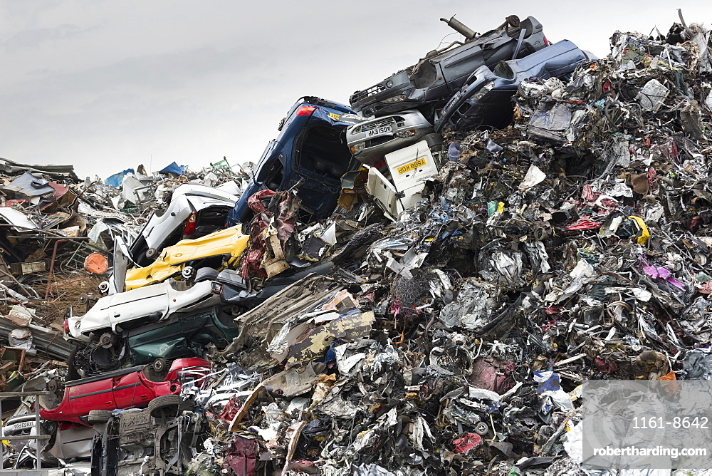 Metal recycling of scrap metal, cars and autos to avoid environmental pollution in England, United Kingdom, Europe