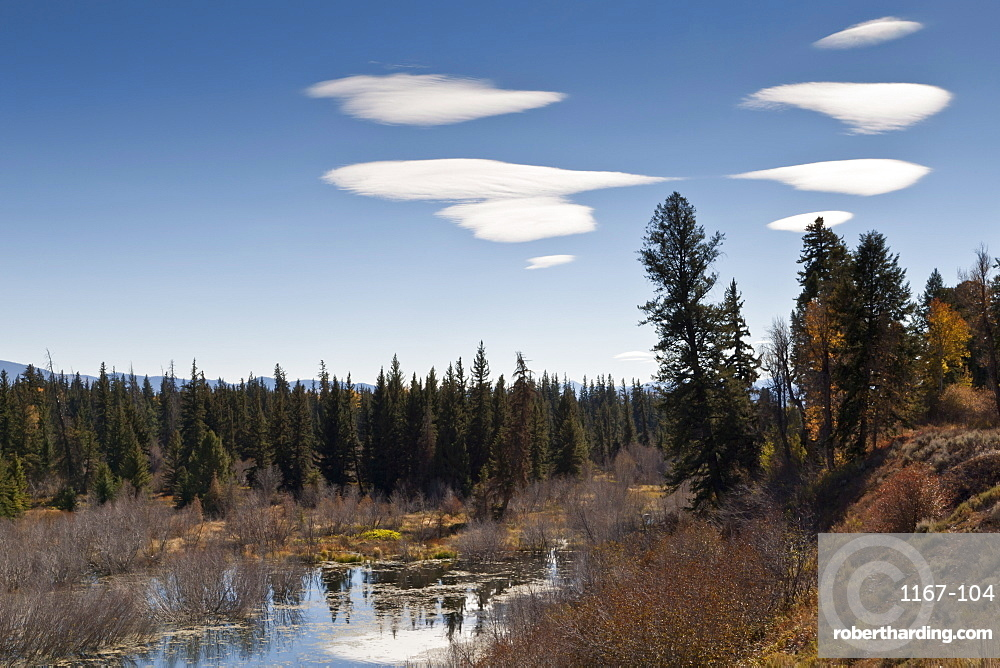 Lenticular clouds over Moose Pond, autumn, Grand Teton National Park, Wyoming, United States of America, North America