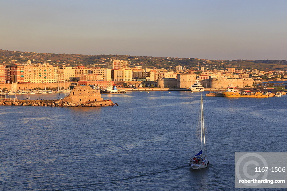 Civitavecchia and its harbour and fortifications, the cruise ship port for Rome, from the sea, late afternoon sun, Civitavecchia, Lazio, Italy, Mediterranean, Europe