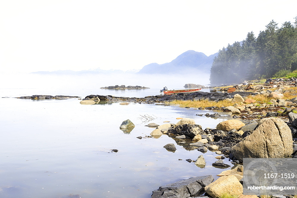 Mist clears from beautiful Petroglyph Beach, State Historic Park, archaeological site, Wrangell, pioneer port, Alaska, United States of America, North America