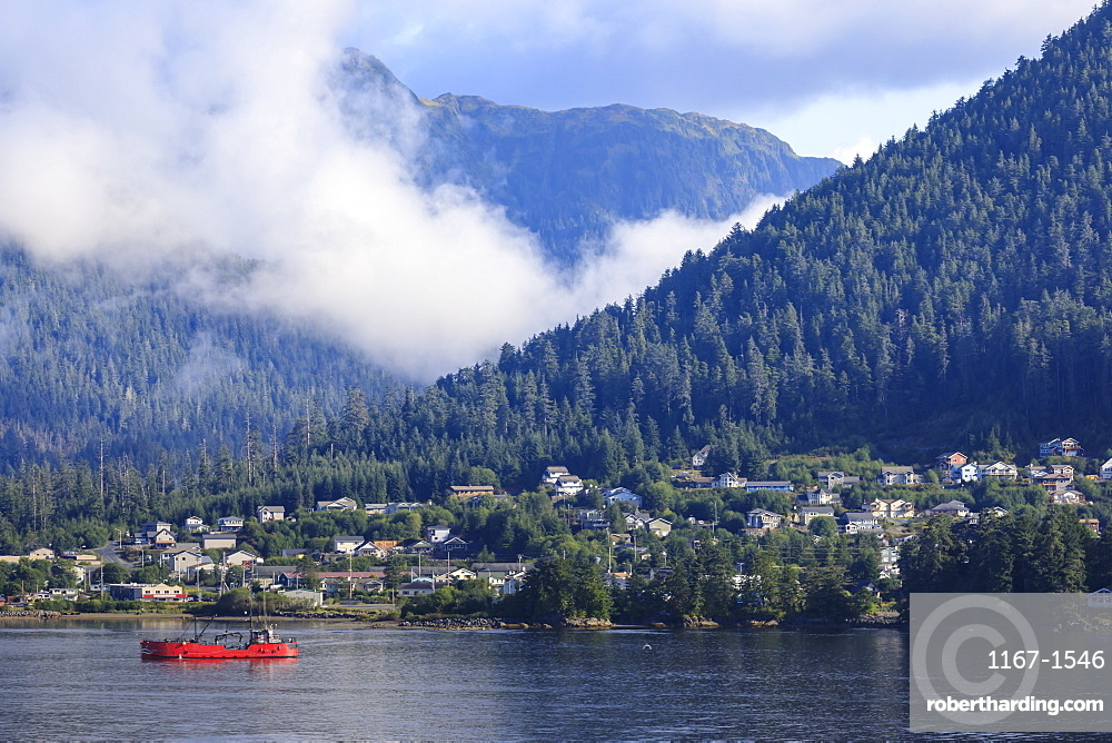 Clearing morning mists, Sitka Sound, Sitka, Northern Panhandle, Southeast Alaska, United States of America, North America