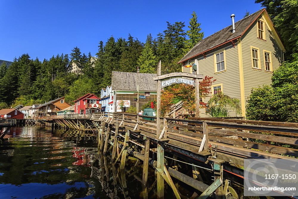 Creek Street, Ketchikan Creek boardwalk, historic red-light district, beautiful sunny summer afternoon, Ketchikan, Alaska, United States of America, North America