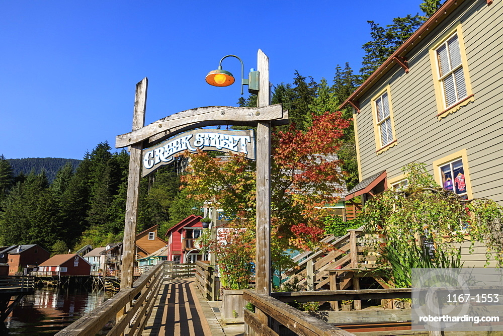 Creek Street, Ketchikan Creek boardwalk, historic red-light district, beautiful early Autumn colours, Ketchikan, Alaska, USA