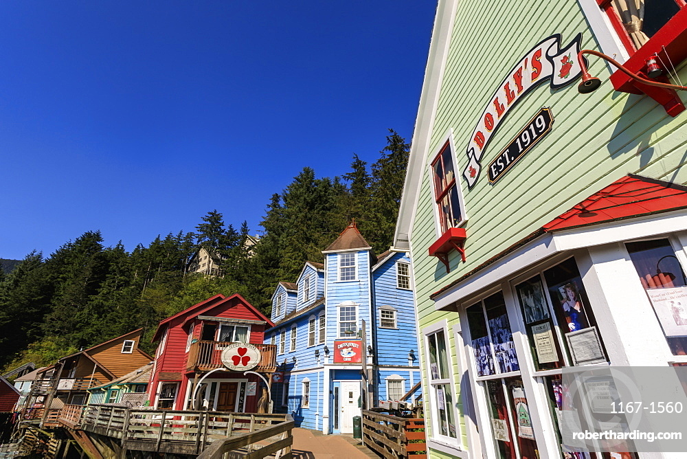 Dolly's House Museum, Creek Street, Ketchikan Creek boardwalk, historic red-light district, sunny day, Ketchikan, Alaska, United States of America, North America