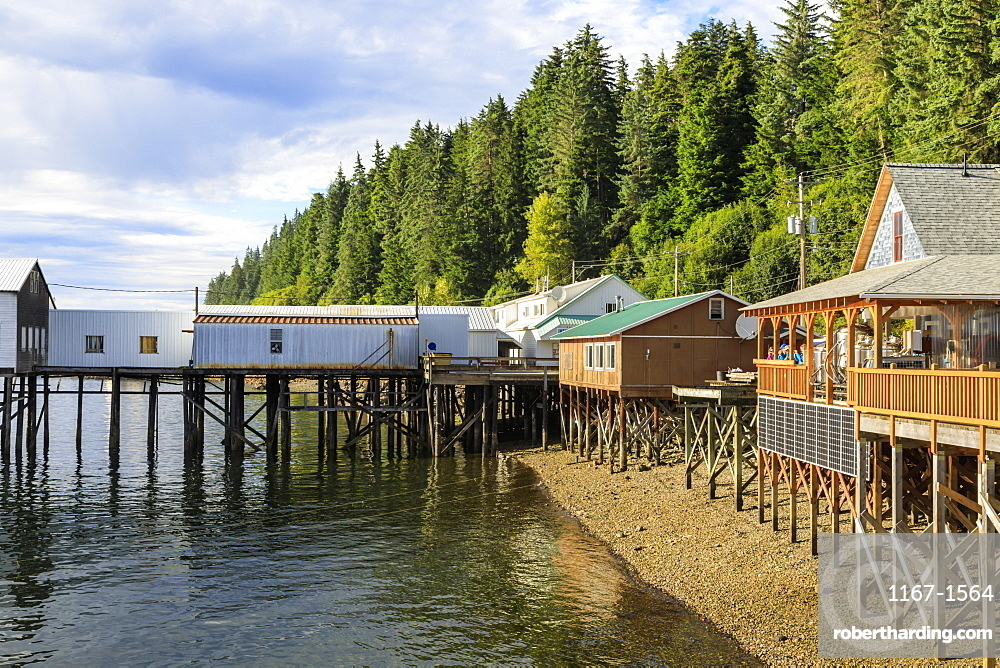 Hoonah, shoreline brewpub and dock, Tlingit Community, Icy Strait Point, Chichagof Island, Inside Passage, Southeast Alaska, United States of America, North America