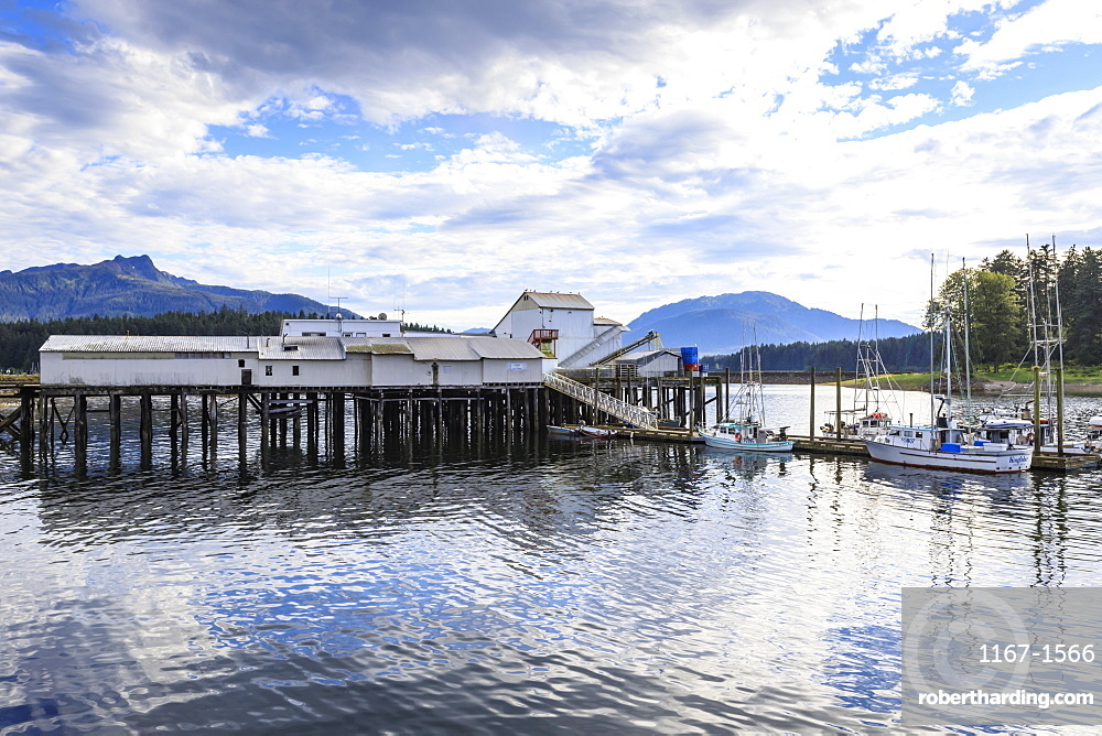 Hoonah, dock and boats, Tlingit Community, Icy Strait Point, summer, Chichagof Island, Inside Passage, Southeast Alaska, United States of America, North America