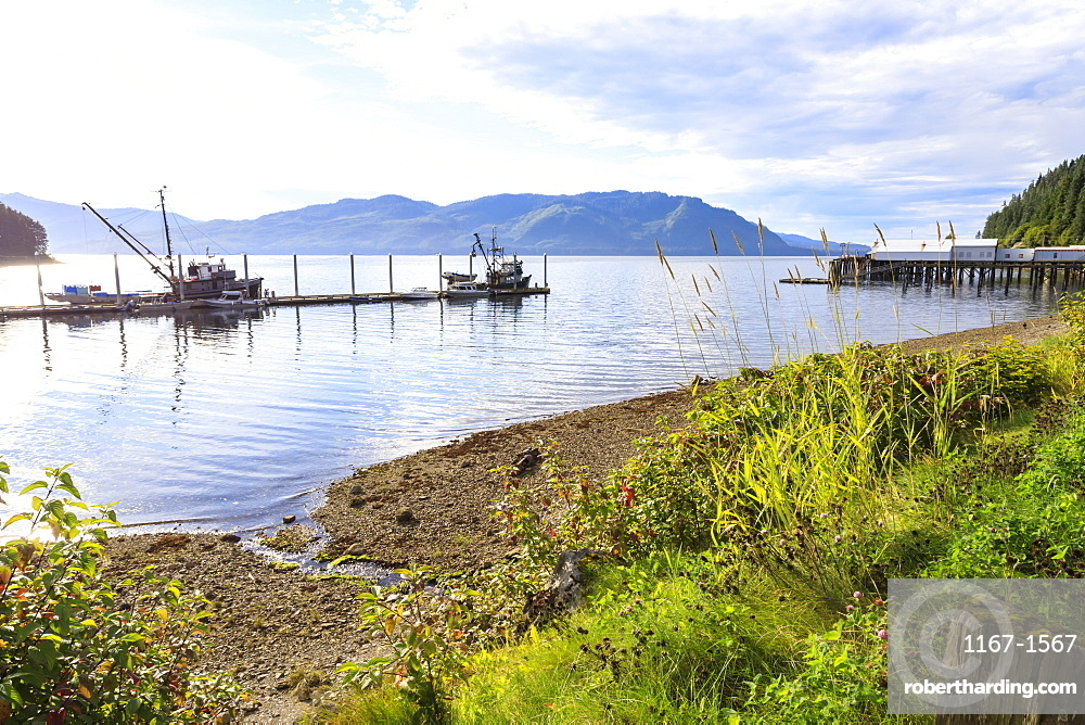 Hoonah, shoreline and dock, Tlingit Community, summer, Icy Strait Point, Chichagof Island, Inside Passage, Southeast Alaska, United States of America, North America
