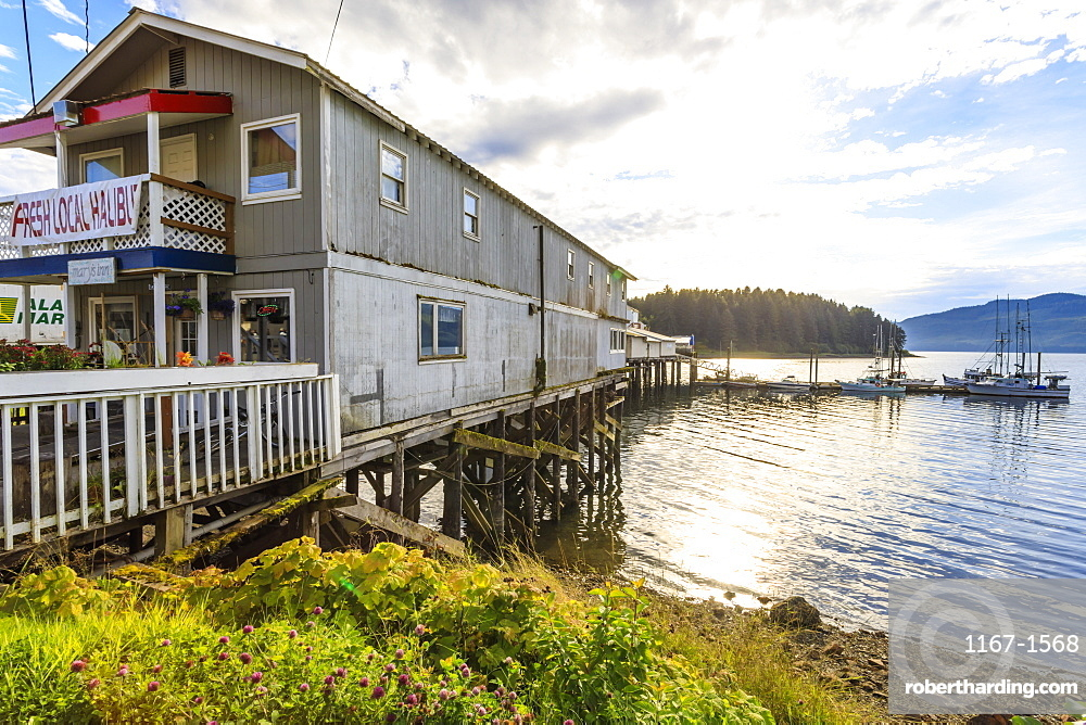 Hoonah, cafe selling fresh local halibut, Tlingit Community, Icy Strait Point, Chichagof Island, Inside Passage, Alaska, United States of America, North America