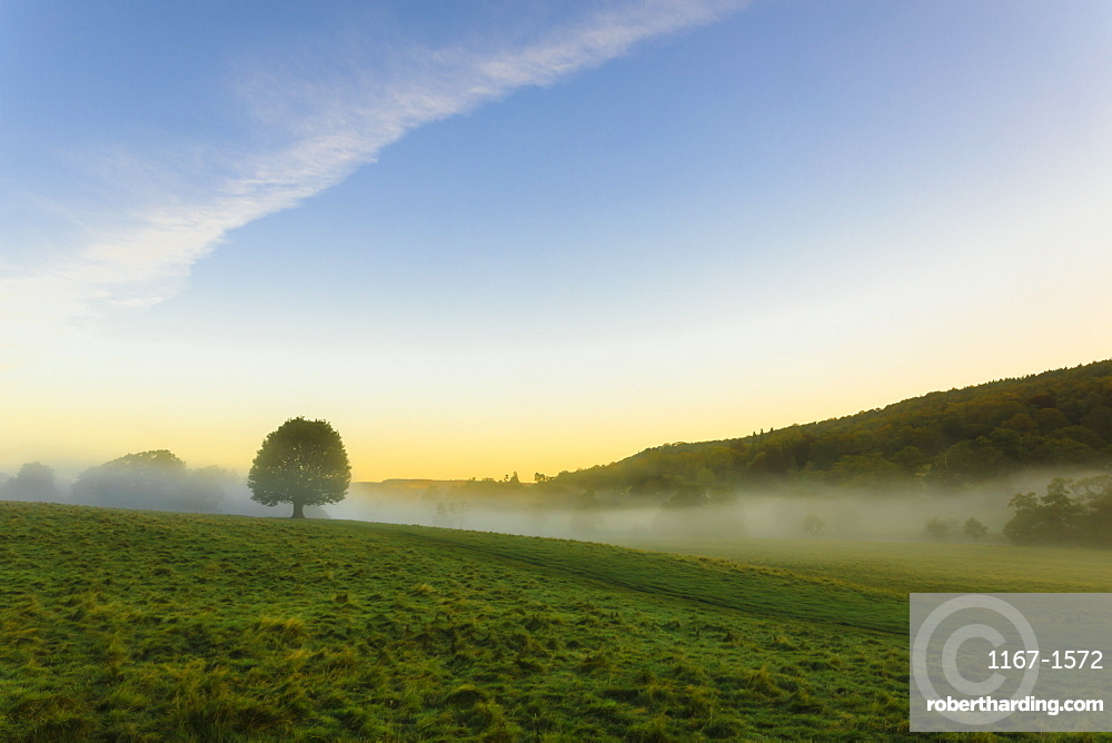 Autumn (fall) morning mists, distant moors, Chatsworth Park, home of the Duke of Devonshire, Chesterfield, Derbyshire, England, United Kingdom, Europe