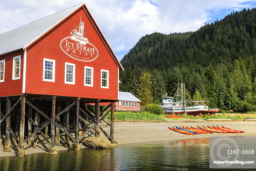 Restored salmon cannery museum and boats, Icy Strait Point, Hoonah, Summer, Chichagof Island, Inside Passage, Alaska, USA