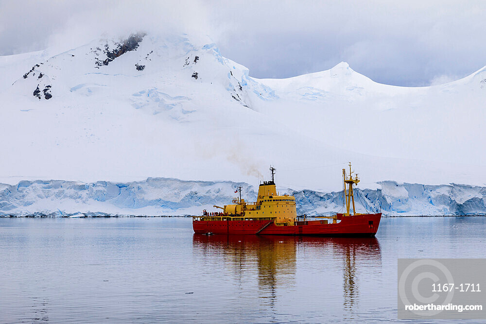 Chilean naval supply vessel, Almirante Oscar Viel, delivers Summer team, Gonzalez Videla Station, Waterboat Point, Antarctica