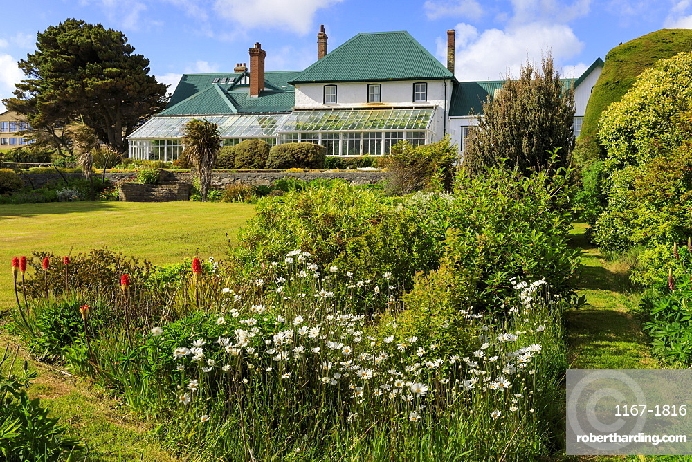 Government House, 1845, conservatory, green iron roof, beautiful grounds, blue sky, Stanley, Port Stanley, Falkland Islands, South America