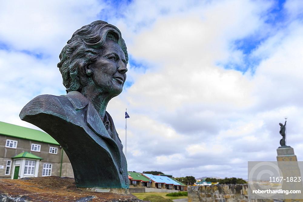 Margaret Thatcher bronze statue, 1982 Falklands War Memorial, Liberation Monument, Stanley, Port Stanley, Falkland Islands, South America