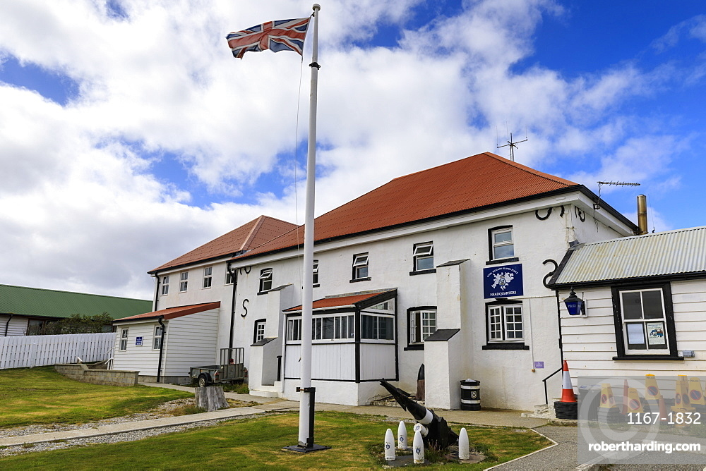 Historic Police Station Headquarters, British Flag, Central Stanley, Port Stanley, Falkland Islands, South America
