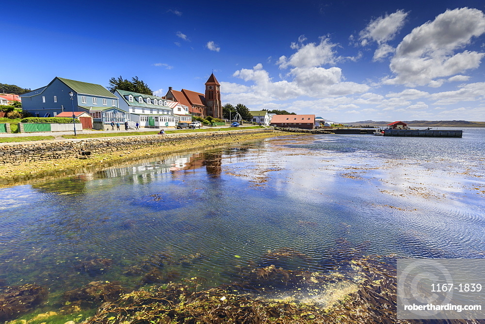 Stanley waterfront reflections, Christ Church Cathedral, Whalebone Arch, Stanley, Port Stanley, Falkland Islands, South America