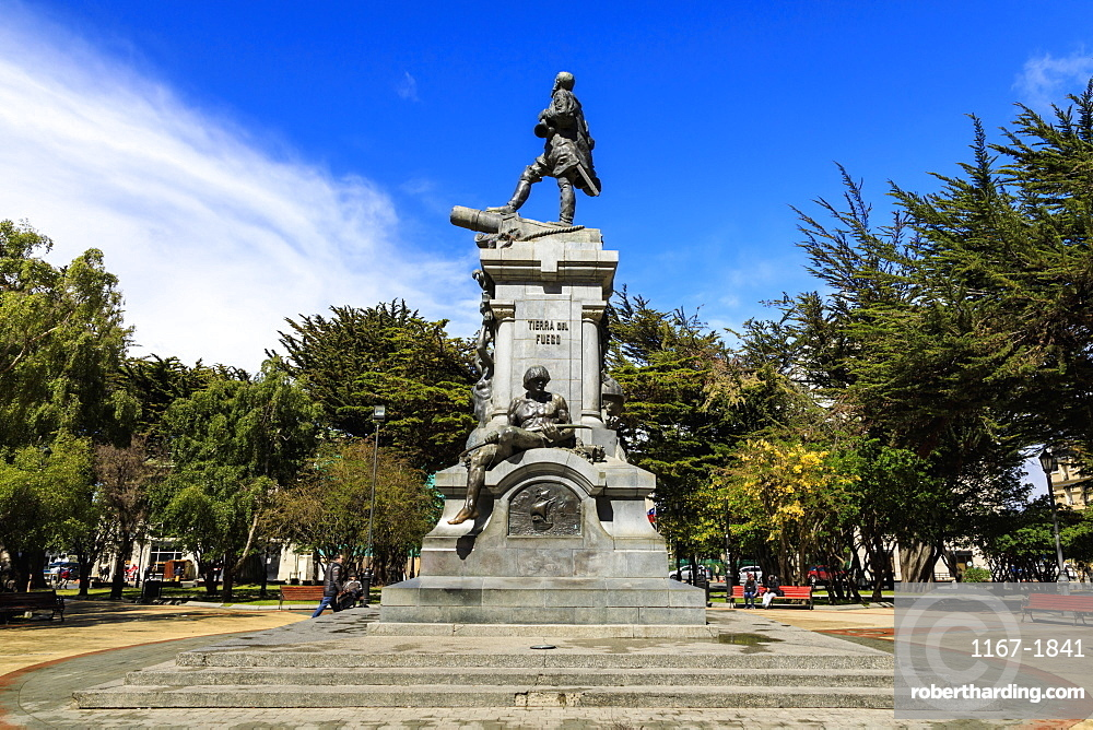 Magellan Monument, Plaza de Armas (Plaza Munoz Gamero), sunny day, Punta Arenas, Chile, South America