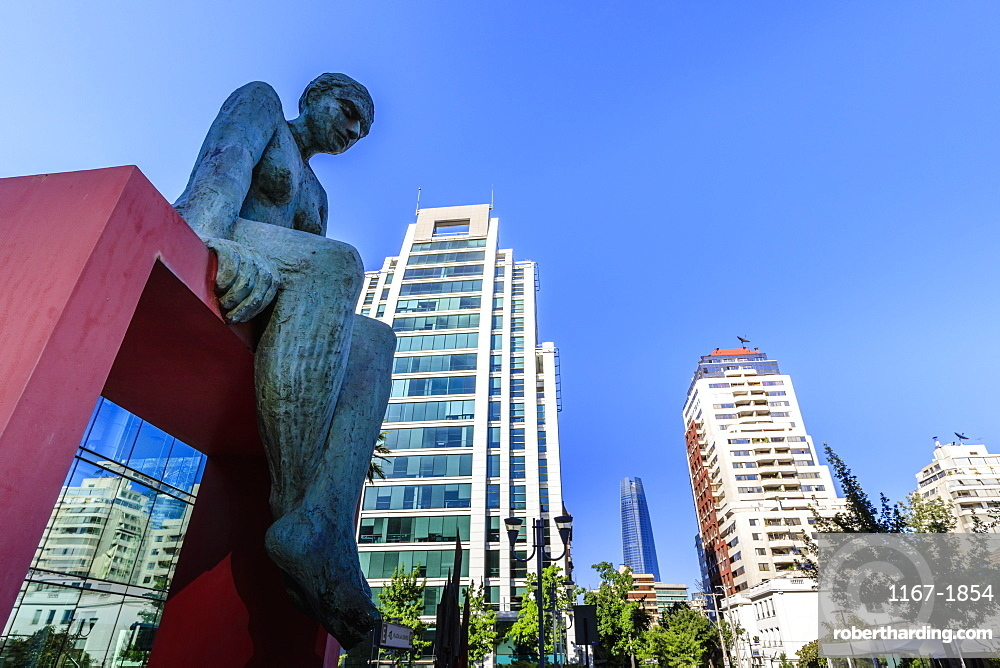 Huge sculpture, prestigious El Golf area, view to Sanhattan and Gran Torre Santiago, Las Condes, Santiago, Chile, South America