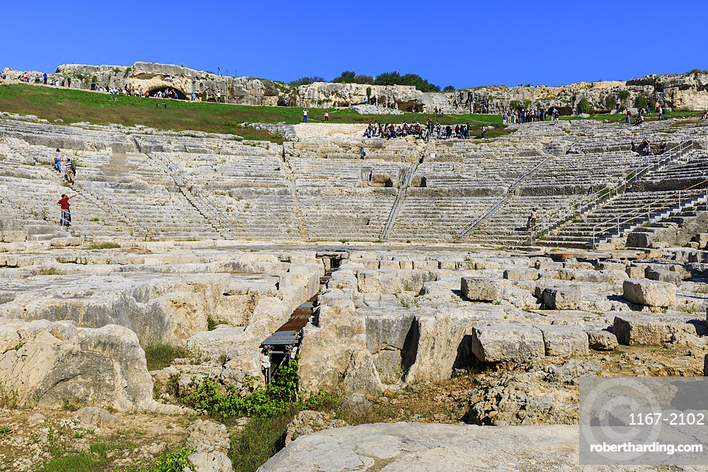 Teatro Greco (Greek Theatre), the Greek Amphitheatre at Syracuse (Siracusa), UNESCO World Heritage Site, Sicily, Italy, Europe