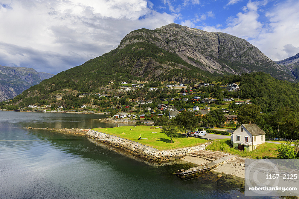 Beautiful Eidfjord village, elevated view, sunny day, off Hardangerfjord, Norwegian Western Fjords, Norway, Europe
