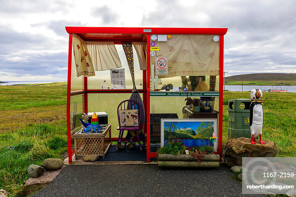 Bobby's Bus Shelter, uniquely decorated and quirky, annual theme, Baltasound, Island of Unst, Shetland Isles, Scotland, Europe